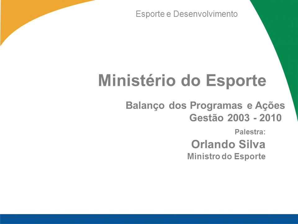 Esporte e Desenvolvimento Ministério do Esporte Balanço dos Programas e Ações Gestão 2003 - 2010 Palestra: Orlando Silva Ministro do Esporte