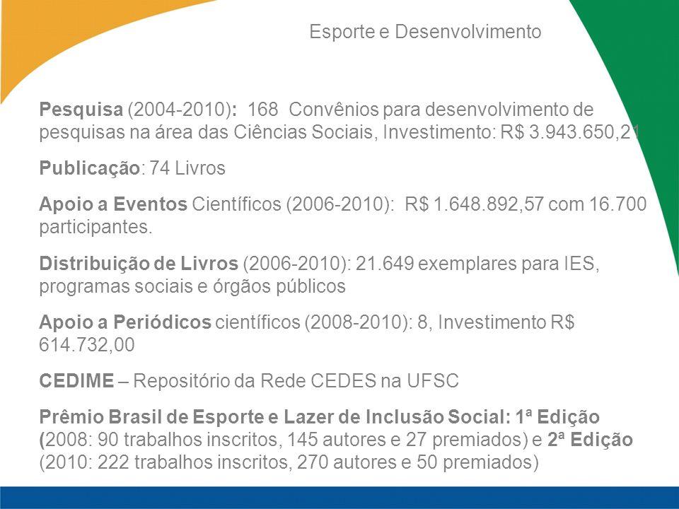 Esporte e Desenvolvimento Pesquisa (2004-2010): 168 Convênios para desenvolvimento de pesquisas na área das Ciências Sociais, Investimento: R$ 3.943.650,21 Publicação: 74 Livros Apoio a Eventos Científicos (2006-2010): R$ 1.648.892,57 com 16.700 participantes.