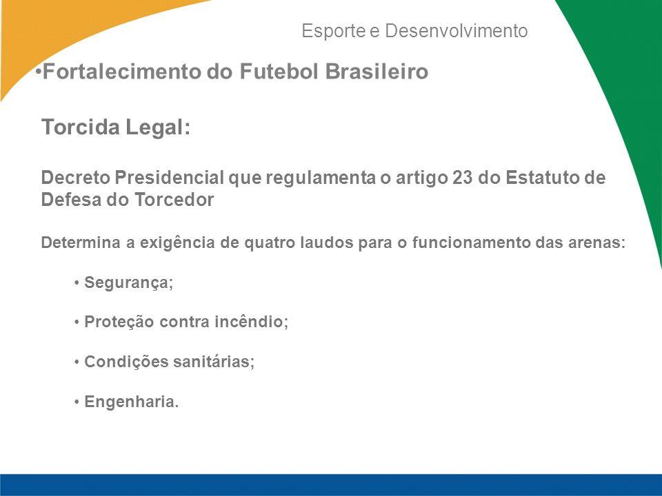 Esporte e Desenvolvimento Torcida Legal: Decreto Presidencial que regulamenta o artigo 23 do Estatuto de Defesa do Torcedor Determina a exigência de q