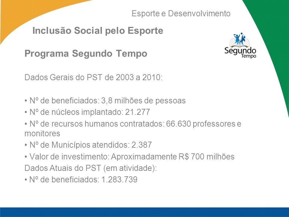 Esporte e Desenvolvimento Inclusão Social pelo Esporte Programa Segundo Tempo Dados Gerais do PST de 2003 a 2010: Nº de beneficiados: 3,8 milhões de p