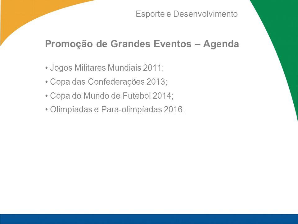 Esporte e Desenvolvimento Promoção de Grandes Eventos – Agenda Jogos Militares Mundiais 2011; Copa das Confederações 2013; Copa do Mundo de Futebol 2014; Olimpíadas e Para-olimpíadas 2016.