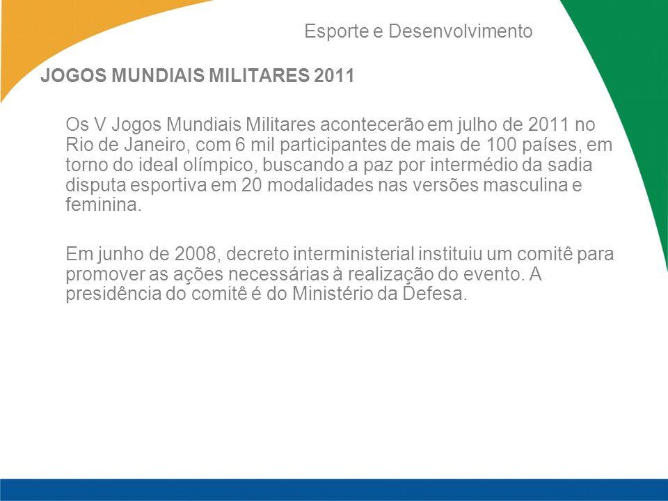 Esporte e Desenvolvimento JOGOS MUNDIAIS MILITARES 2011 Os V Jogos Mundiais Militares acontecerão em julho de 2011 no Rio de Janeiro, com 6 mil partic