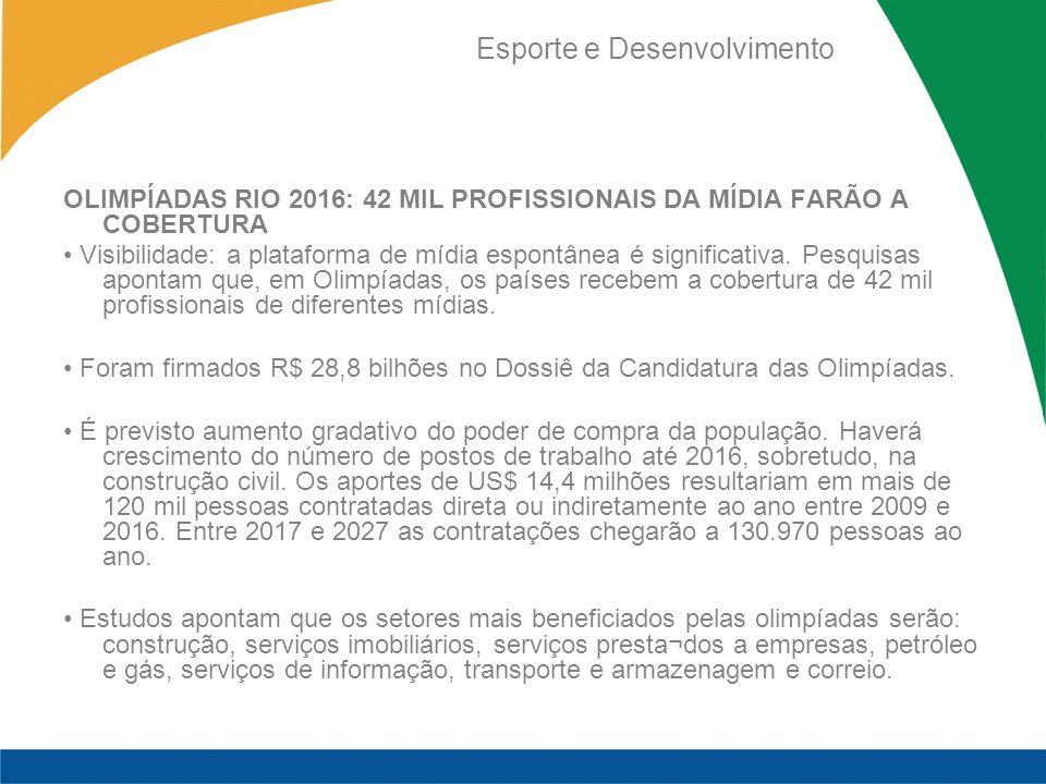 Esporte e Desenvolvimento OLIMPÍADAS RIO 2016: 42 MIL PROFISSIONAIS DA MÍDIA FARÃO A COBERTURA Visibilidade: a plataforma de mídia espontânea é significativa.