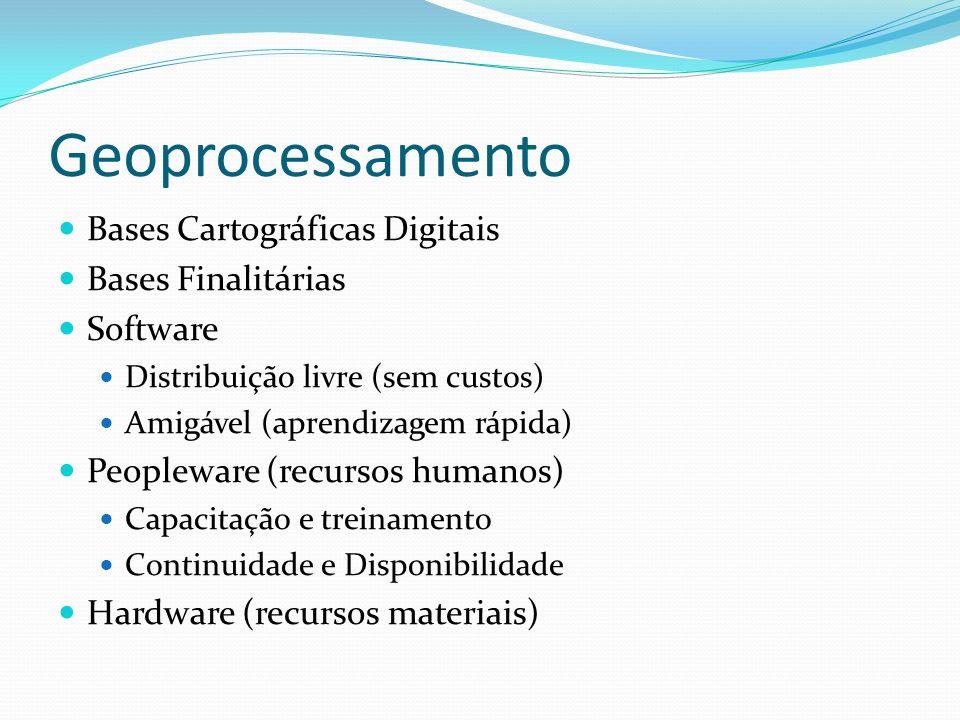 Geoprocessamento Bases Cartográficas Digitais Bases Finalitárias Software Distribuição livre (sem custos) Amigável (aprendizagem rápida) Peopleware (r
