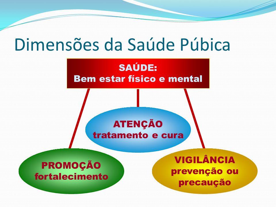 Dimensões da Saúde Púbica ATENÇÃO tratamento e cura PROMOÇÃO fortalecimento VIGILÂNCIA prevenção ou precaução SAÚDE: Bem estar físico e mental