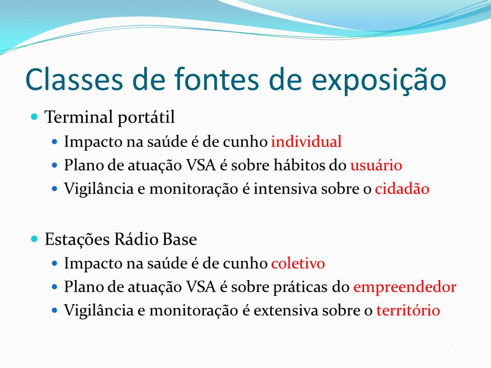 Classes de fontes de exposição Terminal portátil Impacto na saúde é de cunho individual Plano de atuação VSA é sobre hábitos do usuário Vigilância e m