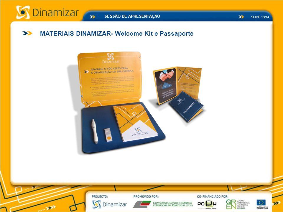 SLIDE 13/14 SESSÃO DE APRESENTAÇÃO MATERIAIS DINAMIZAR- Welcome Kit e Passaporte