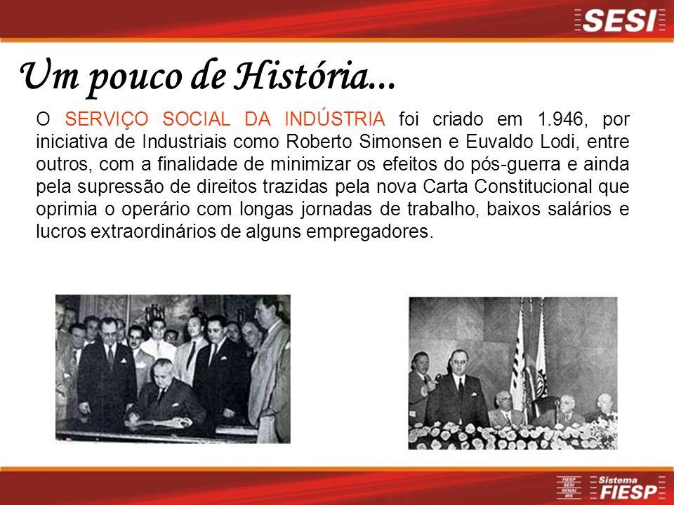 Um pouco de História... O SERVIÇO SOCIAL DA INDÚSTRIA foi criado em 1.946, por iniciativa de Industriais como Roberto Simonsen e Euvaldo Lodi, entre o