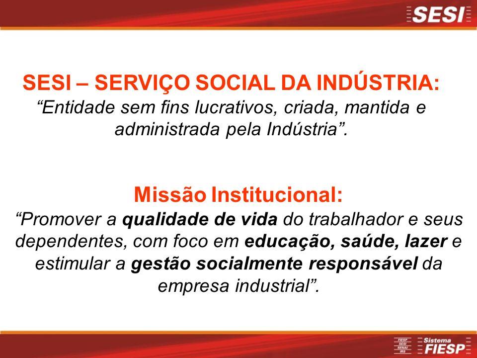 Missão Institucional: Promover a qualidade de vida do trabalhador e seus dependentes, com foco em educação, saúde, lazer e estimular a gestão socialmente responsável da empresa industrial.
