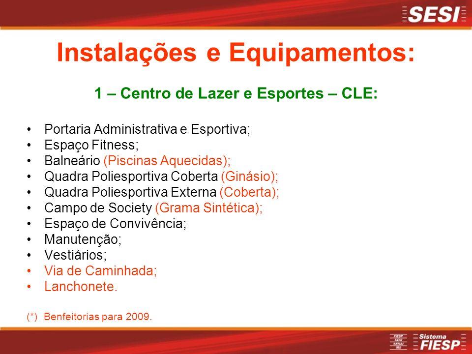 1 – Centro de Lazer e Esportes – CLE: Portaria Administrativa e Esportiva; Espaço Fitness; Balneário (Piscinas Aquecidas); Quadra Poliesportiva Cobert