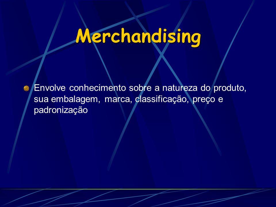Merchandising Envolve conhecimento sobre a natureza do produto, sua embalagem, marca, classificação, preço e padronização