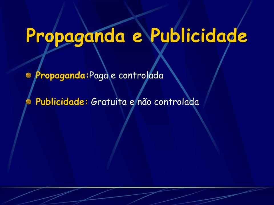 Propaganda e Publicidade Propaganda: Propaganda:Paga e controlada Publicidade: Publicidade: Gratuita e não controlada