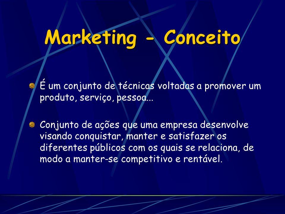Marketing - Conceito É um conjunto de técnicas voltadas a promover um produto, serviço, pessoa... Conjunto de ações que uma empresa desenvolve visando