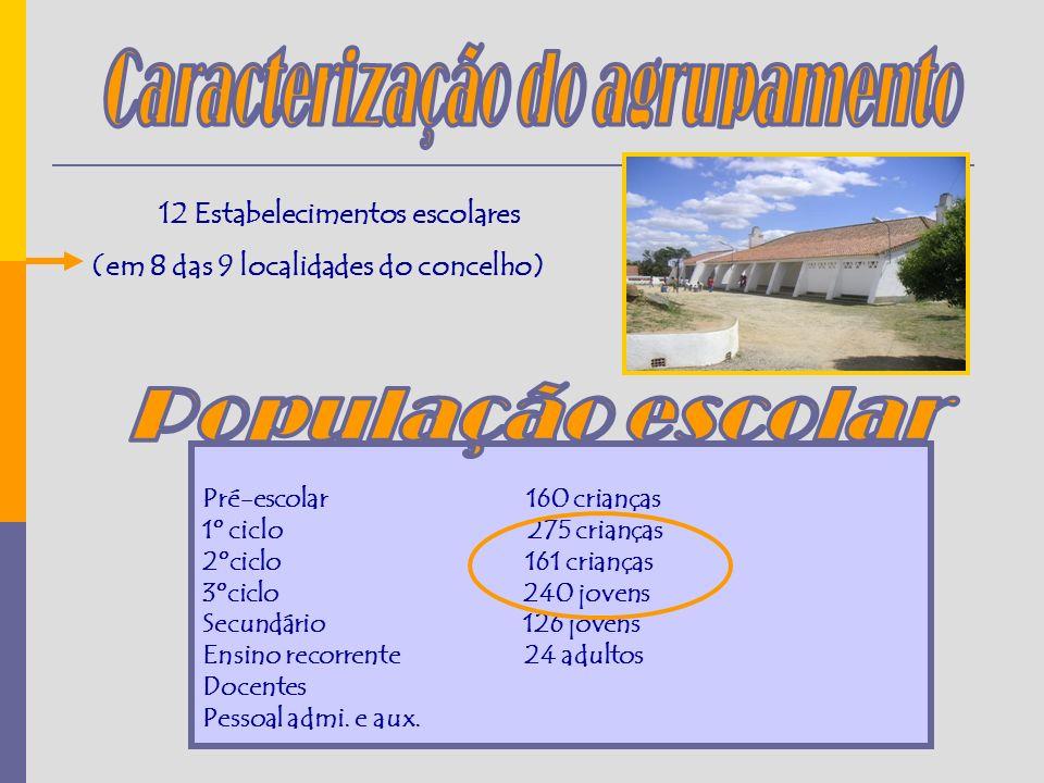 12 Estabelecimentos escolares (em 8 das 9 localidades do concelho) Pré-escolar 160 crianças 1º ciclo 275 crianças 2ºciclo 161 crianças 3ºciclo 240 jovens Secundário 126 jovens Ensino recorrente 24 adultos Docentes Pessoal admi.