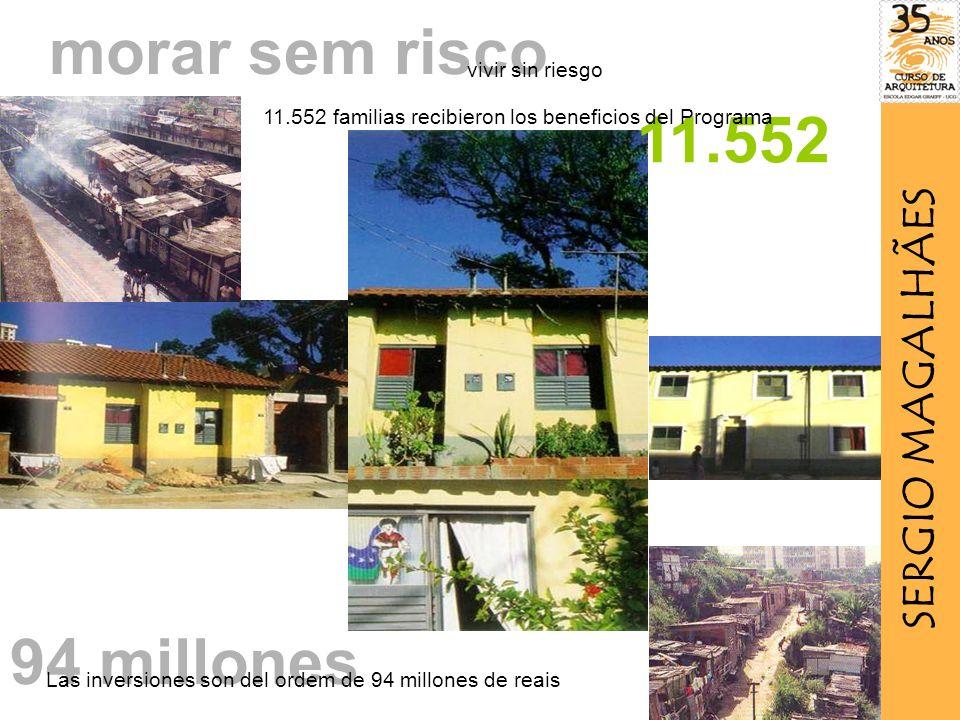 morar sem risco 11.552 11.552 familias recibieron los beneficios del Programa 94 millones Las inversiones son del ordem de 94 millones de reais vivir sin riesgo SERGIO MAGALHÃES