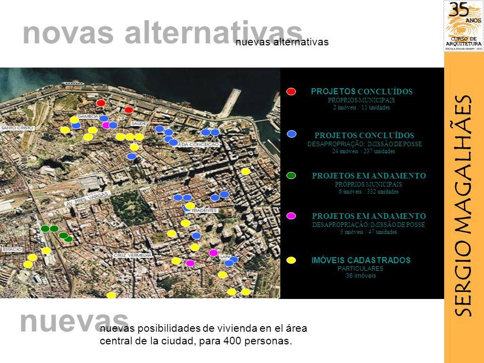 PROJETOS CONCLUÍDOS PRÓPRIOS MUNICIPAIS 2 imóveis / 11 unidades PROJETOS CONCLUÍDOS DESAPROPRIAÇÃO: IMISSÃO DE POSSE 24 imóveis / 237 unidades PROJETOS EM ANDAMENTO PRÓPRIOS MUNICIPAIS 6 imóveis / 332 unidades PROJETOS EM ANDAMENTO DESAPROPRIAÇÃO: IMISSÃO DE POSSE 3 imóveis / 47 unidades IMÓVEIS CADASTRADOS PARTICULARES 36 imóveis novas alternativas nuevas alternativas nuevas nuevas posibilidades de vivienda en el área central de la ciudad, para 400 personas.