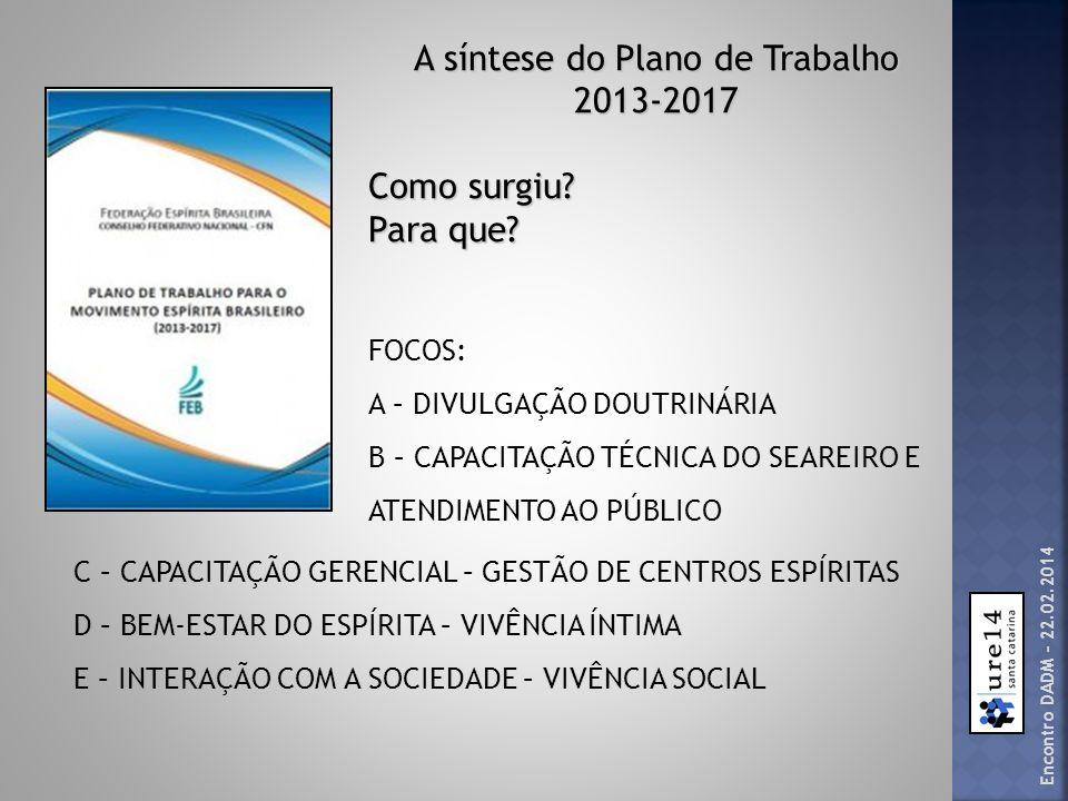 A síntese do Plano de Trabalho 2013-2017 Como surgiu? Para que? FOCOS: A – DIVULGAÇÃO DOUTRINÁRIA B – CAPACITAÇÃO TÉCNICA DO SEAREIRO E ATENDIMENTO AO