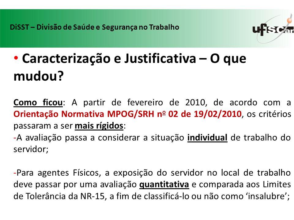 Caracterização e Justificativa – O que mudou? Como ficou: A partir de fevereiro de 2010, de acordo com a Orientação Normativa MPOG/SRH n o 02 de 19/02