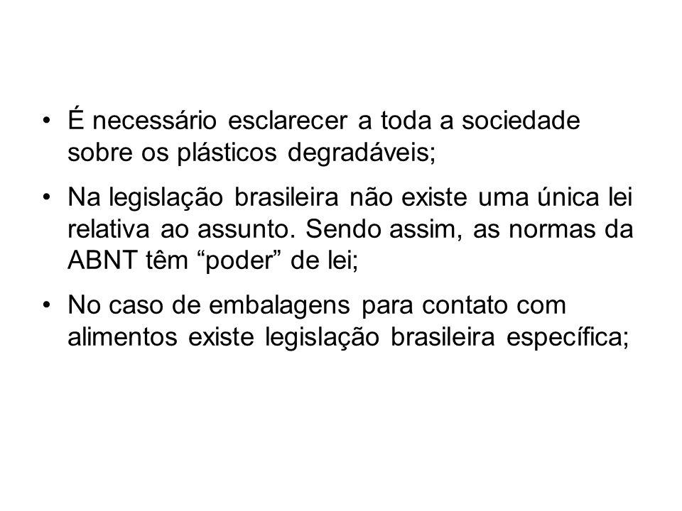 É necessário esclarecer a toda a sociedade sobre os plásticos degradáveis; Na legislação brasileira não existe uma única lei relativa ao assunto. Send