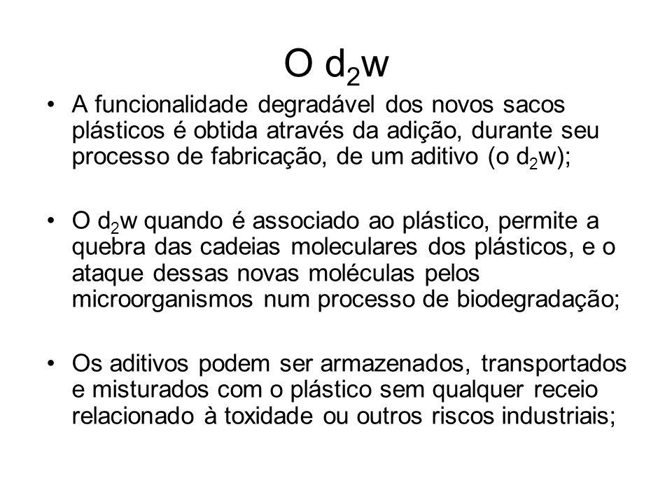 O d 2 w A funcionalidade degradável dos novos sacos plásticos é obtida através da adição, durante seu processo de fabricação, de um aditivo (o d 2 w);