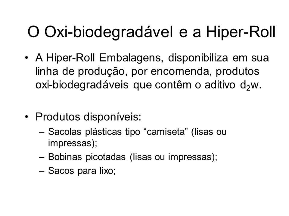 O Oxi-biodegradável e a Hiper-Roll A Hiper-Roll Embalagens, disponibiliza em sua linha de produção, por encomenda, produtos oxi-biodegradáveis que con