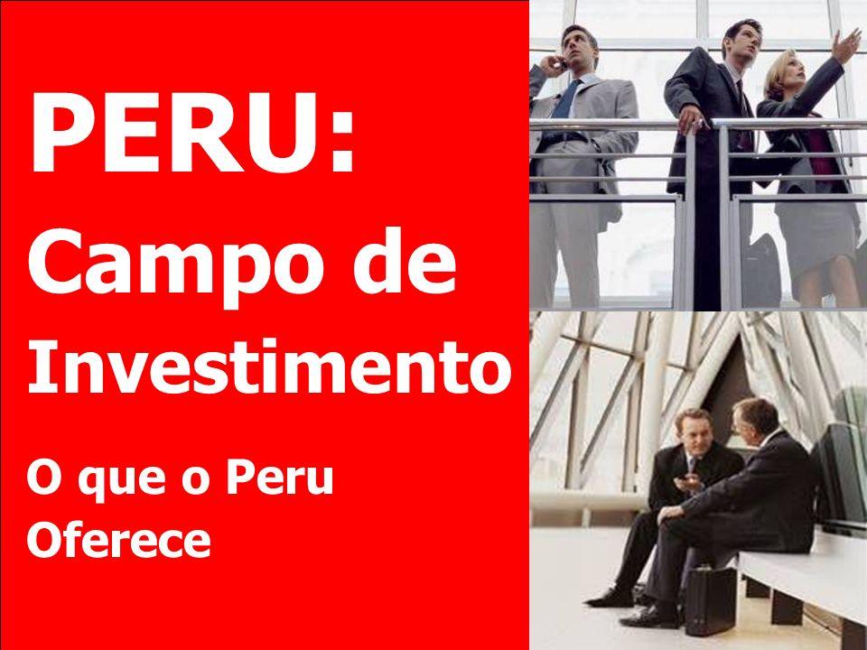 Plano Invista no Peru Setor Construção Crescimento do setor construção superior ao crescimento do PIB Obras de infra-estrutura em transporte, energia, saneamento.