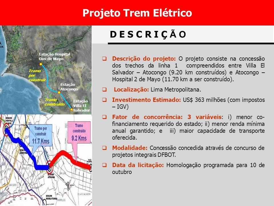 27 Tramo construido Tramo por construir Estação Hospital Dos de Mayo Estação Atocongo Estação Villa El Salvador D E S C R I Ç Ã O Descrição do projeto: O projeto consiste na concessão dos trechos da linha 1 compreendidos entre Villa El Salvador – Atocongo (9.20 km construídos) e Atocongo – Hospital 2 de Mayo (11.70 km a ser construído).