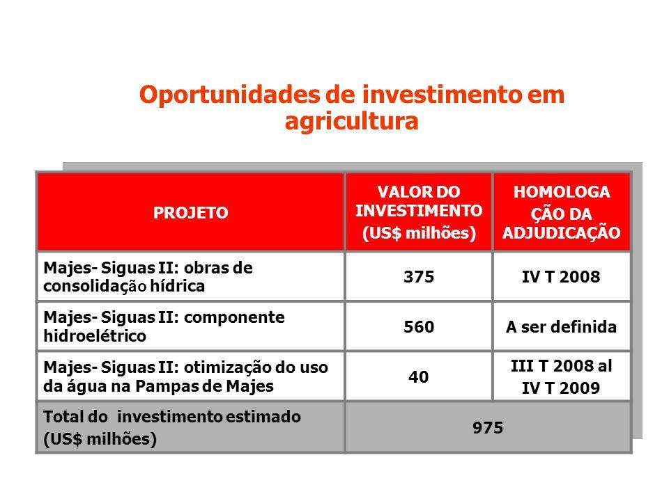 Oportunidades de investimento em agricultura PROJETO VALOR DO INVESTIMENTO (US$ milhões) HOMOLOGA ÇÃO DA ADJUDICAÇÃO Majes- Siguas II: obras de consolidaç ão hídrica 375IV T 2008 Majes- Siguas II: componente hidroelétrico 560A ser definida Majes- Siguas II: otimização do uso da água na Pampas de Majes 40 III T 2008 al IV T 2009 Total do investimento estimado (US$ milhões) 975