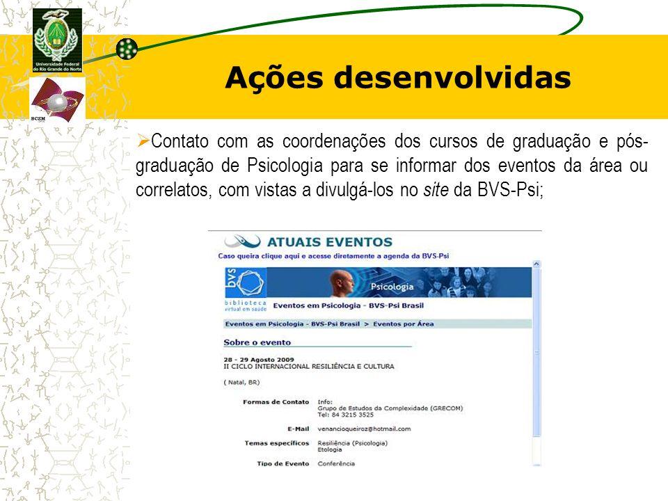 Ações desenvolvidas Contato com as coordenações dos cursos de graduação e pós- graduação de Psicologia para se informar dos eventos da área ou correla