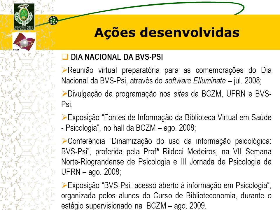 Ações desenvolvidas DIA NACIONAL DA BVS-PSI Reunião virtual preparatória para as comemorações do Dia Nacional da BVS-Psi, através do software EIlumina