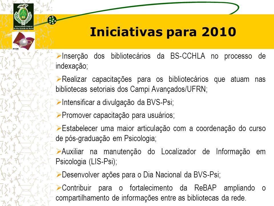 Iniciativas para 2010 Inserção dos bibliotecários da BS-CCHLA no processo de indexação; Realizar capacitações para os bibliotecários que atuam nas bib