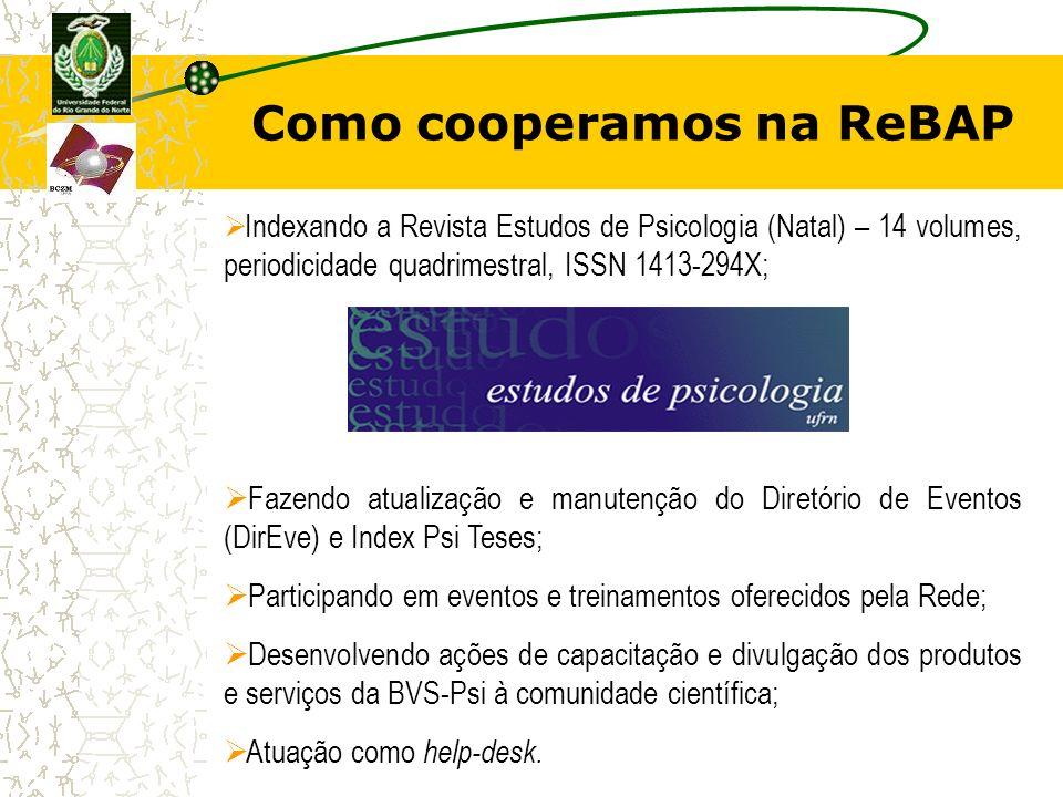 Como cooperamos na ReBAP Indexando a Revista Estudos de Psicologia (Natal) – 14 volumes, periodicidade quadrimestral, ISSN 1413-294X; Fazendo atualiza