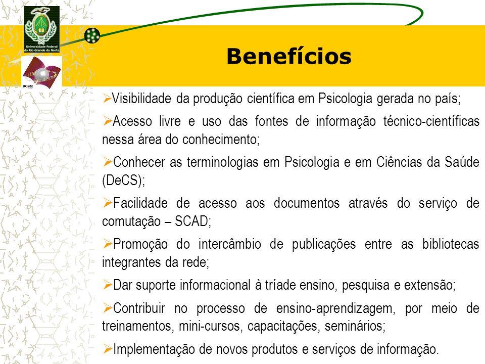 Benefícios Visibilidade da produção científica em Psicologia gerada no país; Acesso livre e uso das fontes de informação técnico-científicas nessa áre