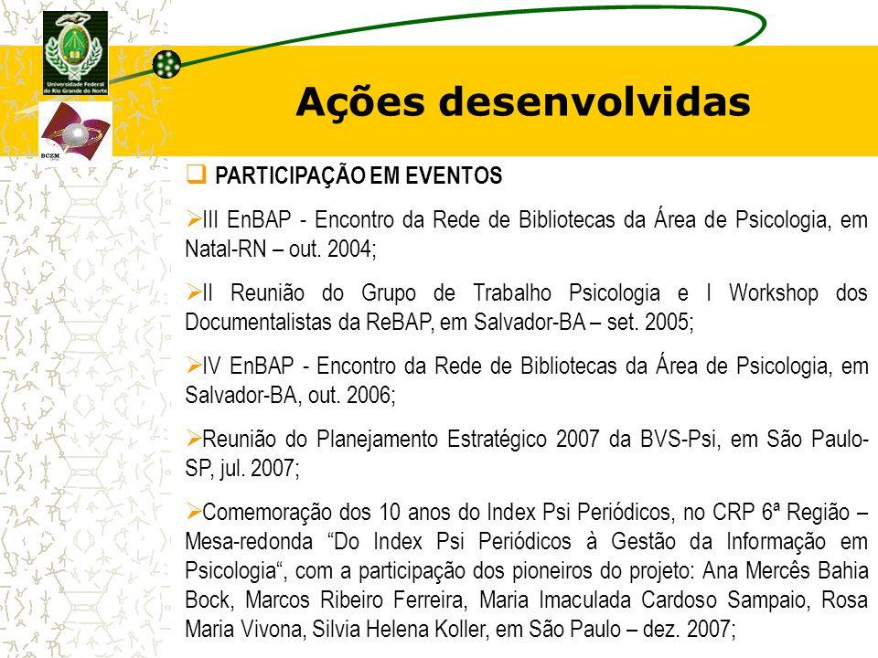 Ações desenvolvidas PARTICIPAÇÃO EM EVENTOS III EnBAP - Encontro da Rede de Bibliotecas da Área de Psicologia, em Natal-RN – out. 2004; II Reunião do