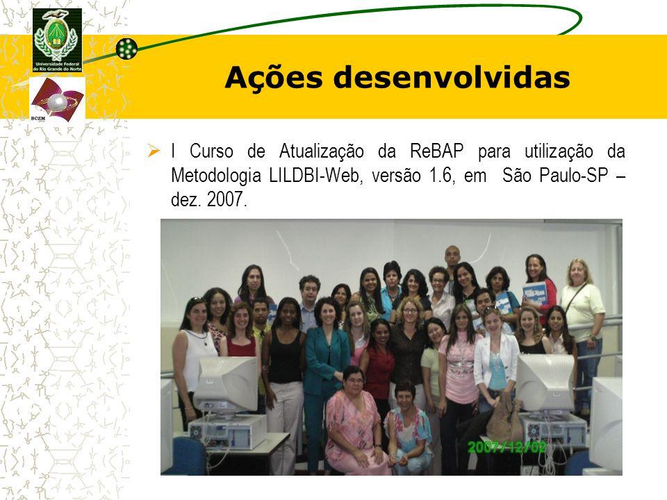 Ações desenvolvidas I Curso de Atualização da ReBAP para utilização da Metodologia LILDBI-Web, versão 1.6, em São Paulo-SP – dez. 2007.