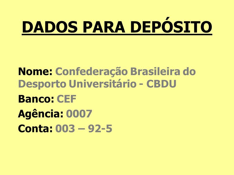 DADOS PARA DEPÓSITO Nome: Confederação Brasileira do Desporto Universitário - CBDU Banco: CEF Agência: 0007 Conta: 003 – 92-5