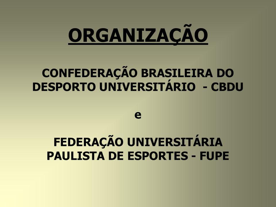 ORGANIZAÇÃO CONFEDERAÇÃO BRASILEIRA DO DESPORTO UNIVERSITÁRIO - CBDU e FEDERAÇÃO UNIVERSITÁRIA PAULISTA DE ESPORTES - FUPE