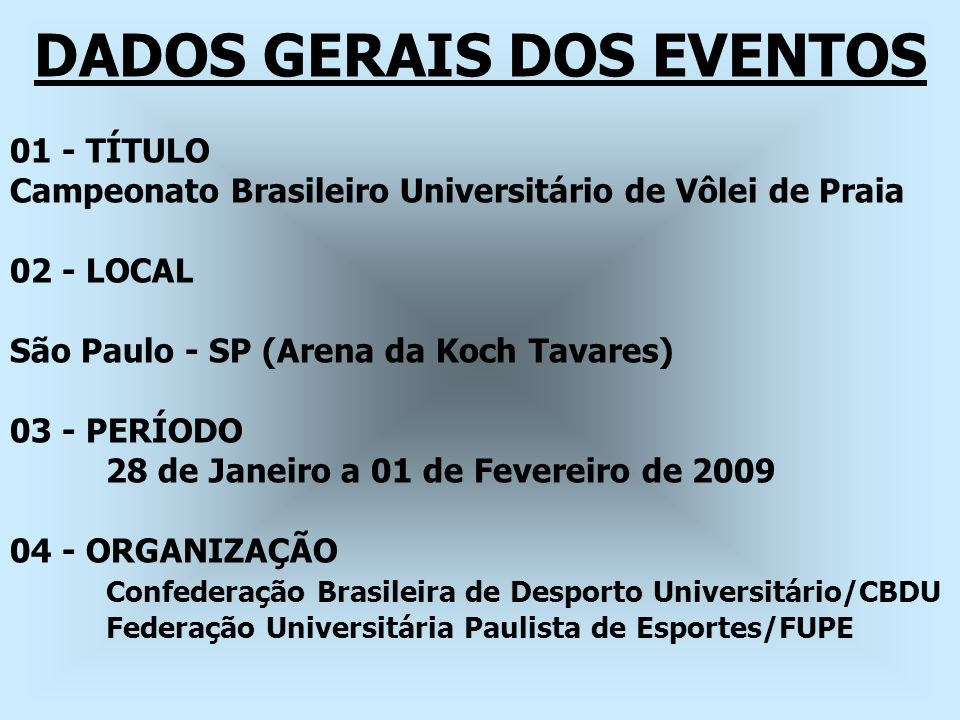 DADOS GERAIS DOS EVENTOS 01 - TÍTULO Campeonato Brasileiro Universitário de Vôlei de Praia 02 - LOCAL São Paulo - SP (Arena da Koch Tavares) 03 - PERÍ