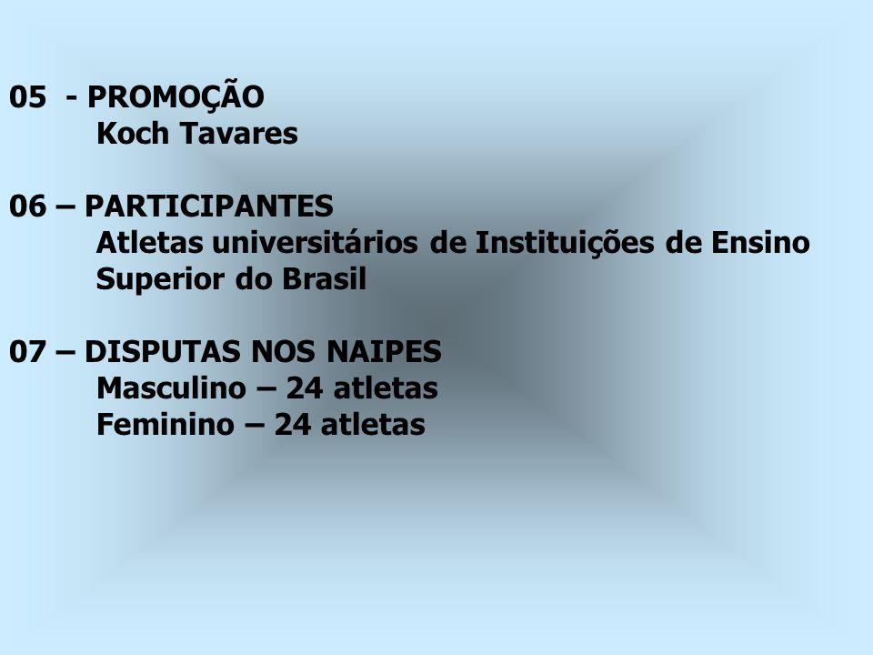 05 - PROMOÇÃO Koch Tavares 06 – PARTICIPANTES Atletas universitários de Instituições de Ensino Superior do Brasil 07 – DISPUTAS NOS NAIPES Masculino –