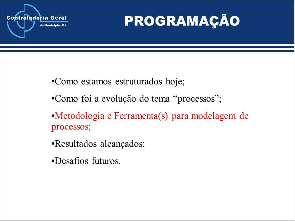 PROGRAMAÇÃO Como estamos estruturados hoje; Como foi a evolução do tema processos; Metodologia e Ferramenta(s) para modelagem de processos; Resultados alcançados; Desafios futuros.
