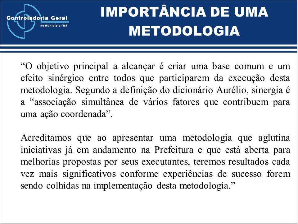 IMPORTÂNCIA DE UMA METODOLOGIA O objetivo principal a alcançar é criar uma base comum e um efeito sinérgico entre todos que participarem da execução desta metodologia.