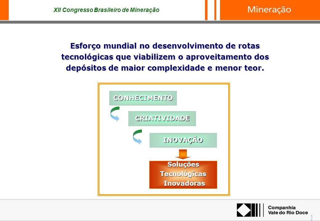XII Congresso Brasileiro de Mineração 11 Esforço mundial no desenvolvimento de rotas tecnológicas que viabilizem o aproveitamento dos depósitos de mai