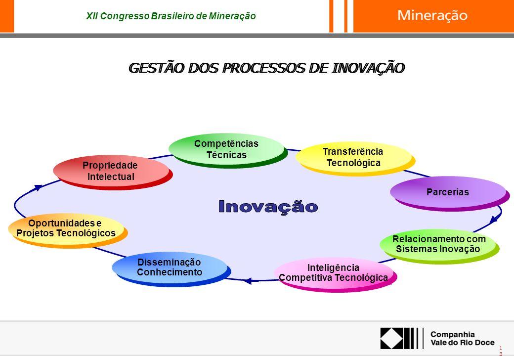 XII Congresso Brasileiro de Mineração 13 GESTÃO DOS PROCESSOS DE INOVAÇÃO Inteligência Competitiva Tecnológica Inteligência Competitiva Tecnológica Di