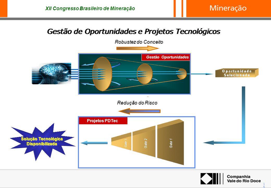 XII Congresso Brasileiro de Mineração 15 Robustez do Conceito Gestão Oportunidades Projetos PDTec Solução Tecnológica Disponibilizada Redução do Risco