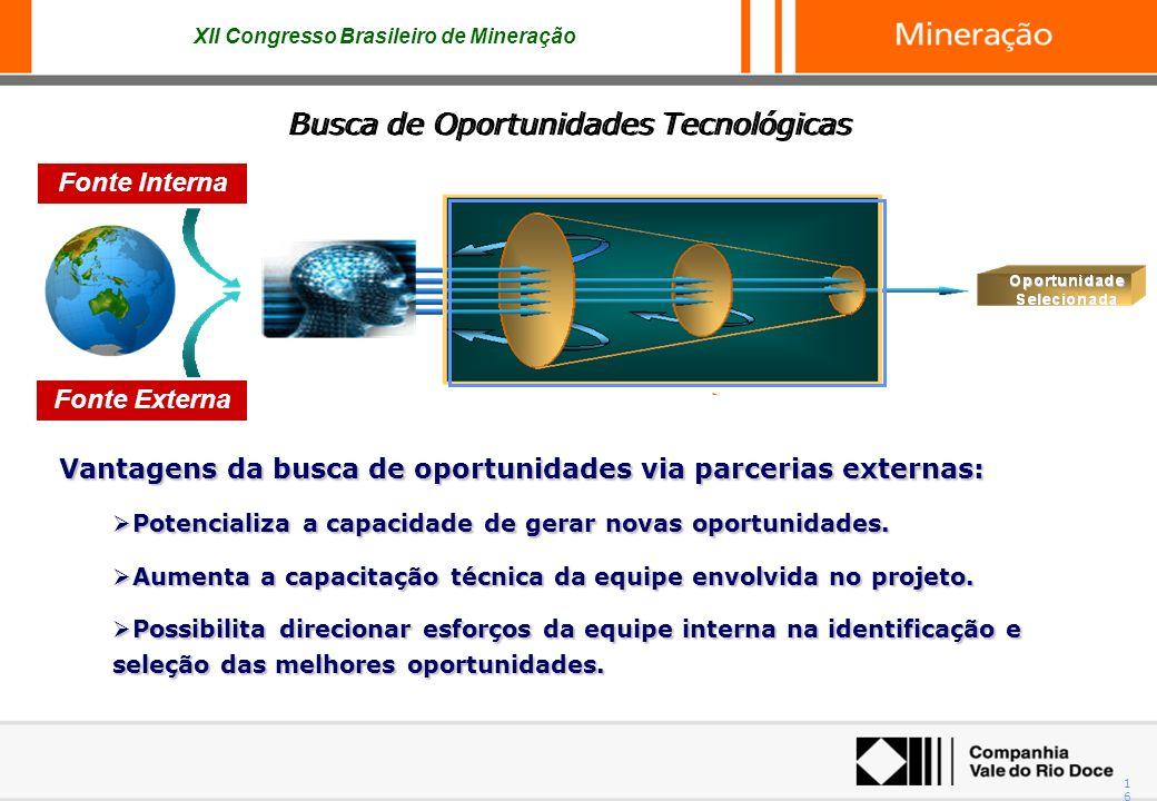 XII Congresso Brasileiro de Mineração 16 Busca de Oportunidades Tecnológicas Vantagens da busca de oportunidades via parcerias externas: Potencializa