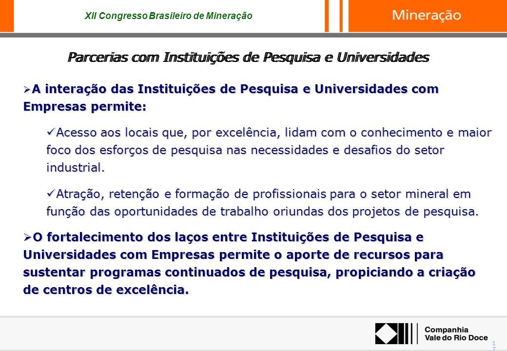 XII Congresso Brasileiro de Mineração 17 Parcerias com Instituições de Pesquisa e Universidades A interação das Instituições de Pesquisa e Universidad