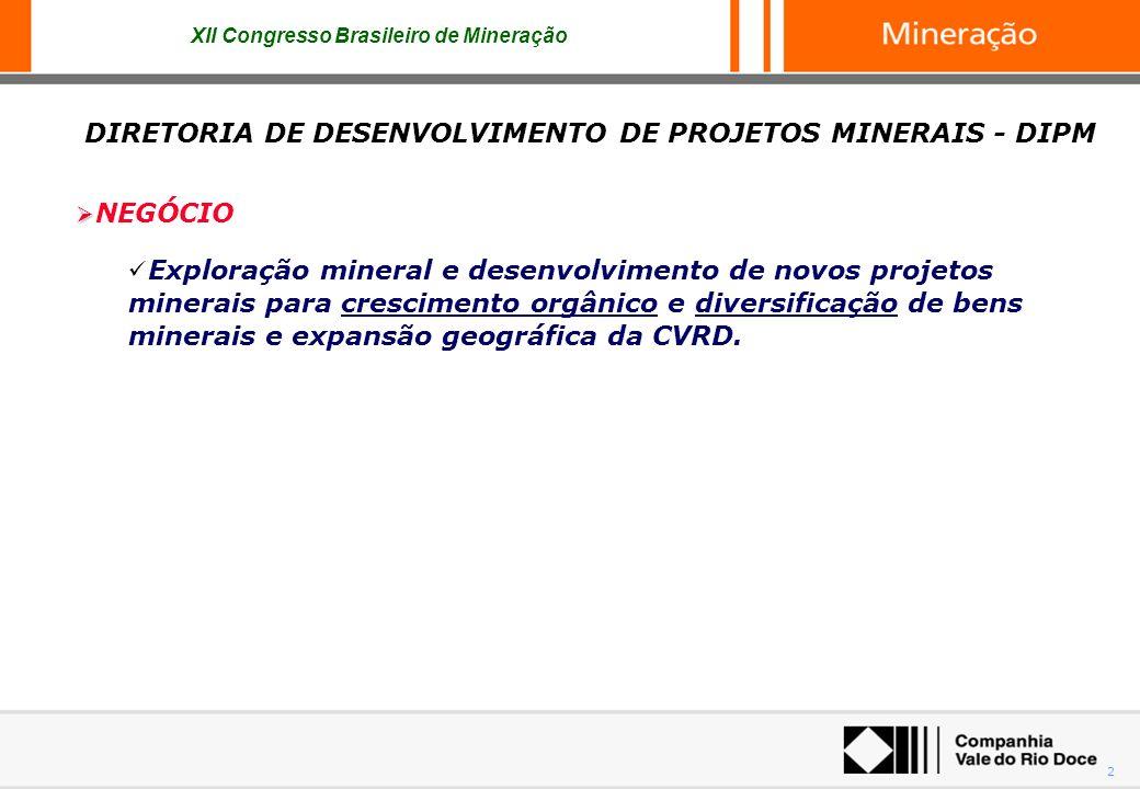 2 NEGÓCIO Exploração mineral e desenvolvimento de novos projetos minerais para crescimento orgânico e diversificação de bens minerais e expansão geogr