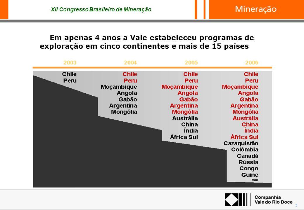 XII Congresso Brasileiro de Mineração 3 Em apenas 4 anos a Vale estabeleceu programas de exploração em cinco continentes e mais de 15 países