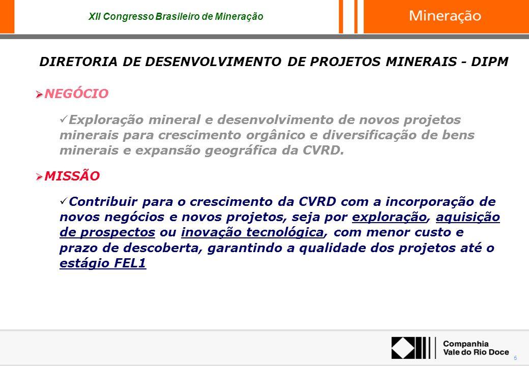 XII Congresso Brasileiro de Mineração 6 NEGÓCIO Exploração mineral e desenvolvimento de novos projetos minerais para crescimento orgânico e diversific