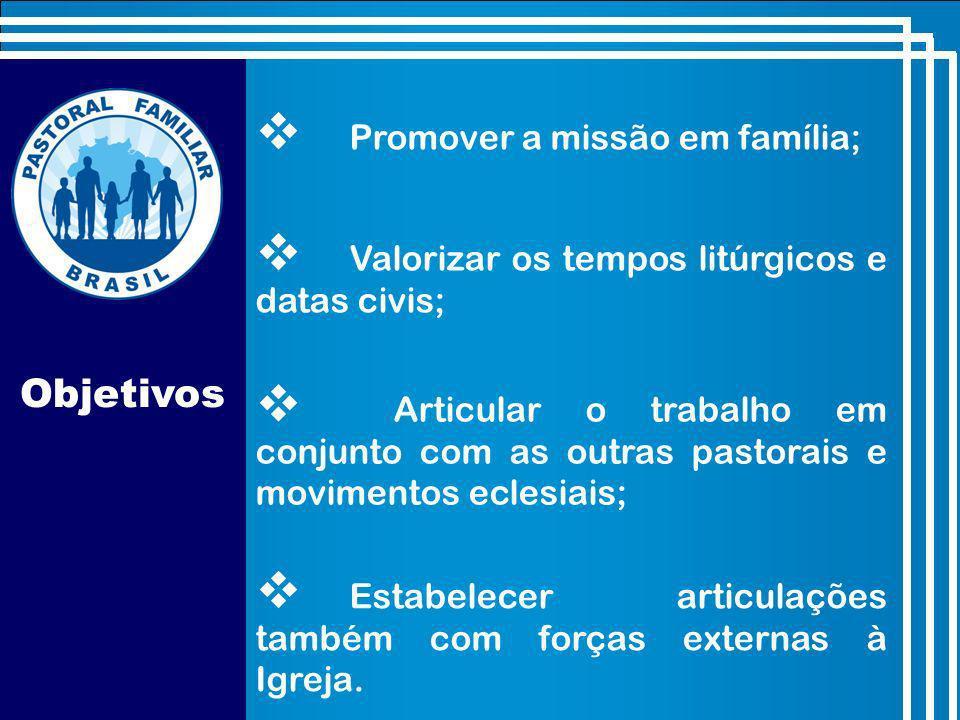 Objetivos Promover a missão em família; Valorizar os tempos litúrgicos e datas civis; Estabelecer articulações também com forças externas à Igreja.